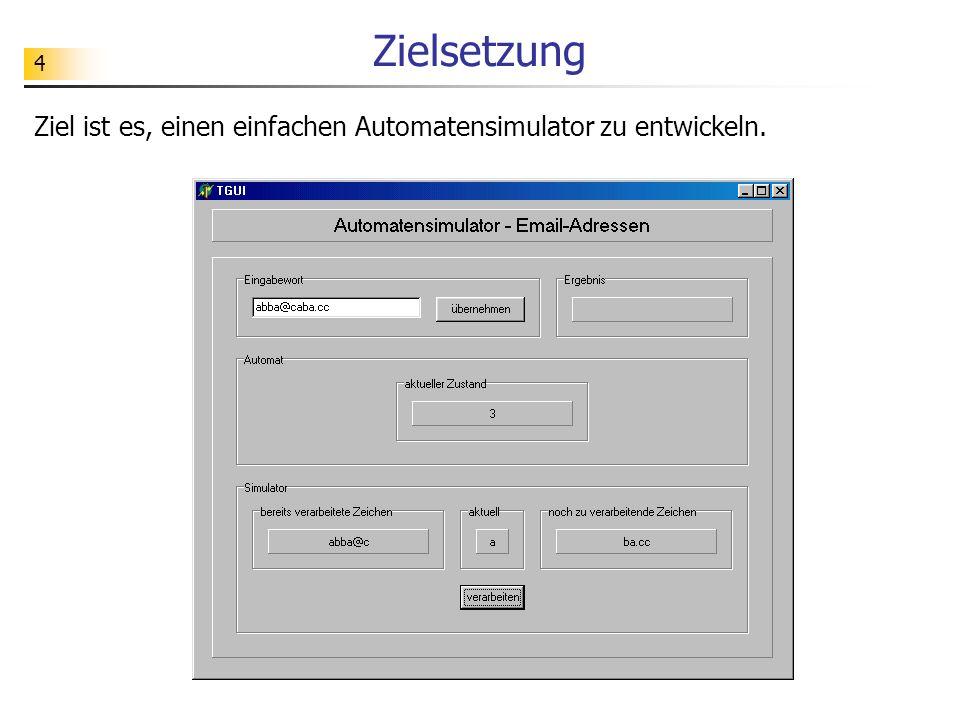 Zielsetzung Ziel ist es, einen einfachen Automatensimulator zu entwickeln.