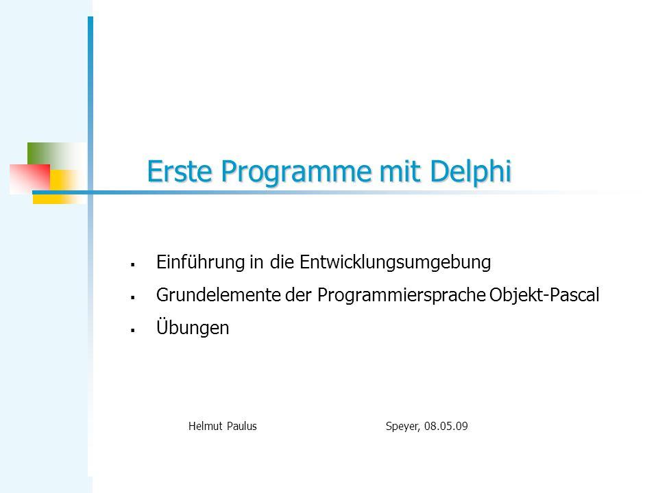 Erste Programme mit Delphi