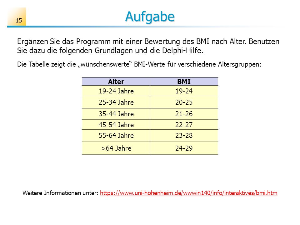 Aufgabe Ergänzen Sie das Programm mit einer Bewertung des BMI nach Alter. Benutzen Sie dazu die folgenden Grundlagen und die Delphi-Hilfe.