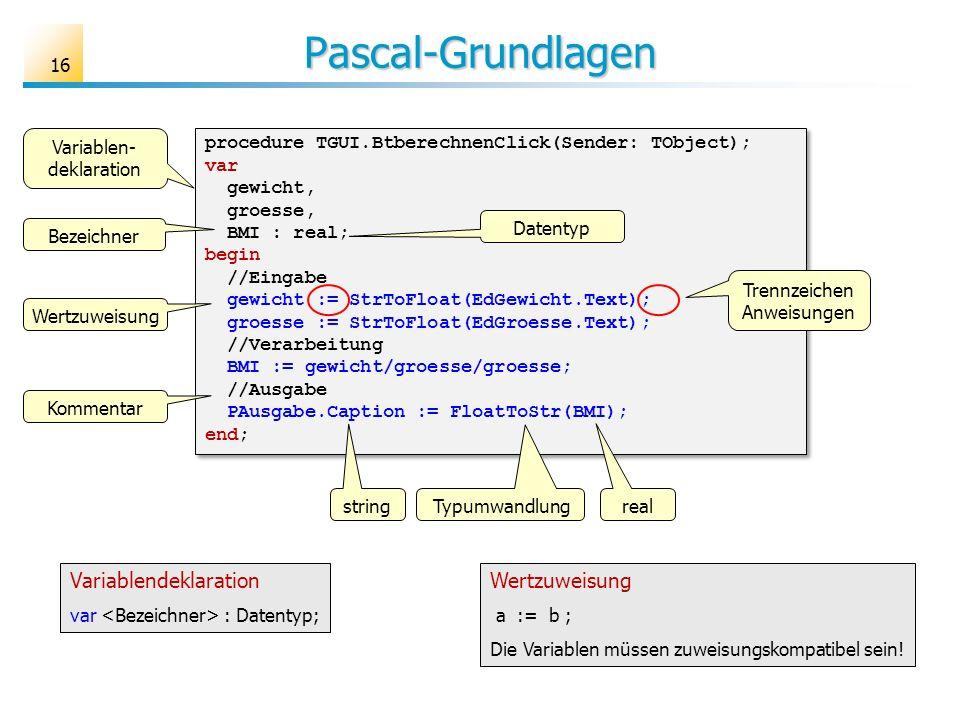 Pascal-Grundlagen Variablendeklaration Wertzuweisung