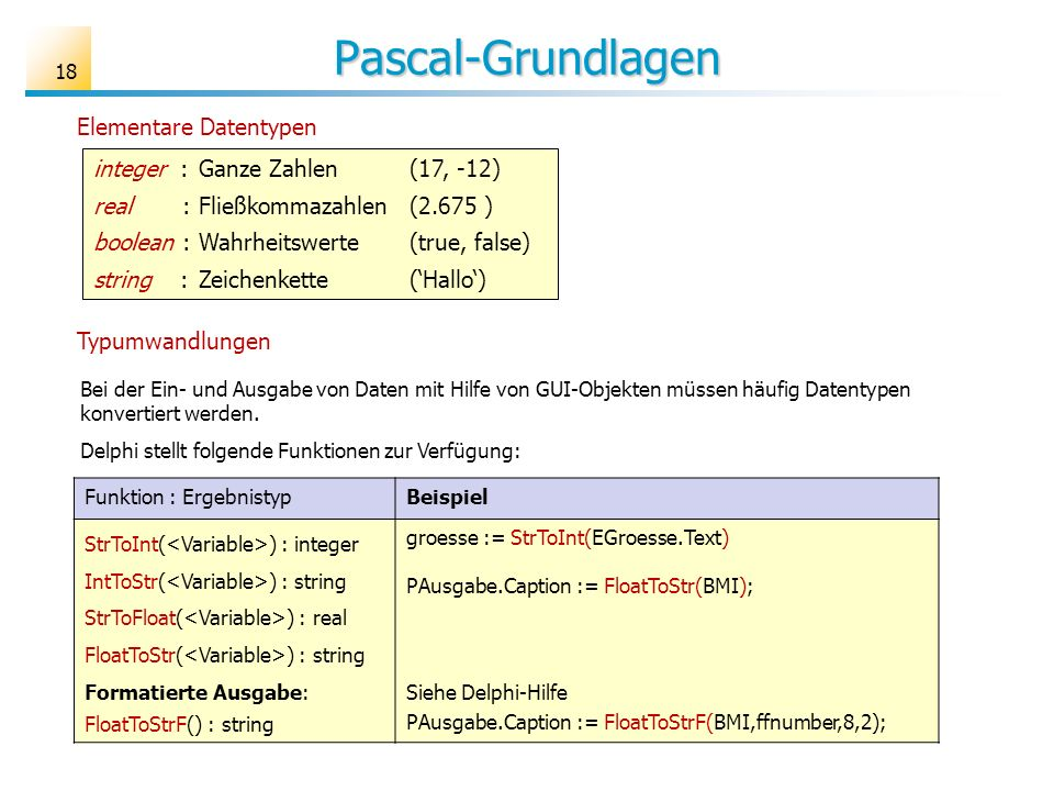 Pascal-Grundlagen Elementare Datentypen