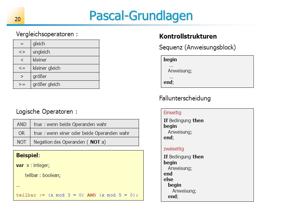 Pascal-Grundlagen Vergleichsoperatoren : Kontrollstrukturen