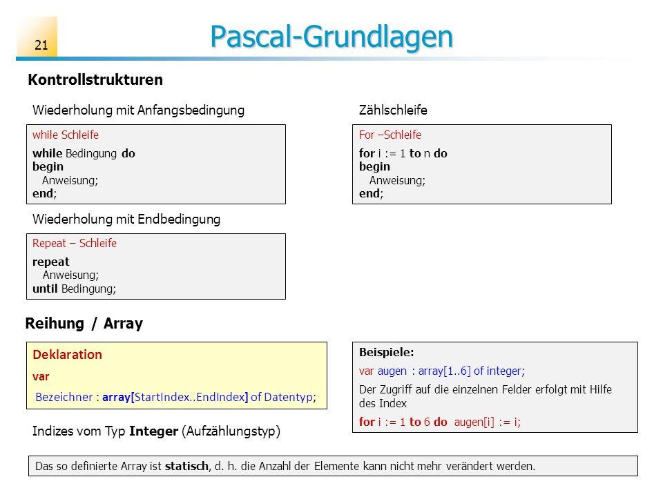 Pascal-Grundlagen Kontrollstrukturen Reihung / Array Deklaration