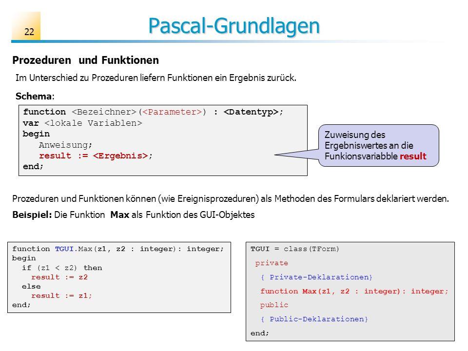 Pascal-Grundlagen Prozeduren und Funktionen