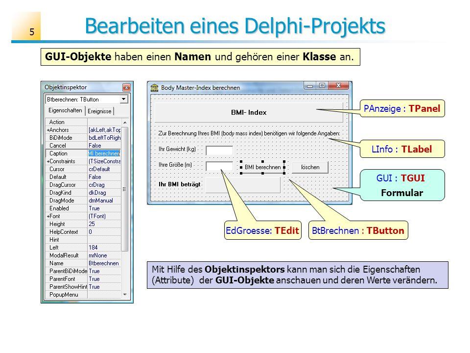 Bearbeiten eines Delphi-Projekts