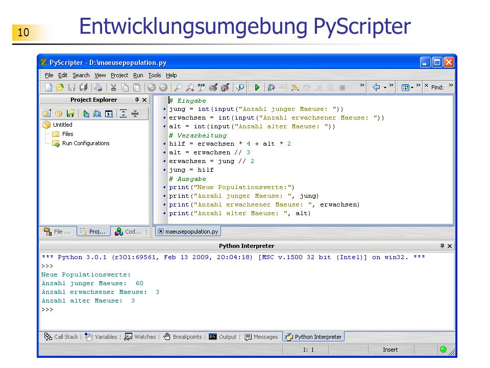 Entwicklungsumgebung PyScripter