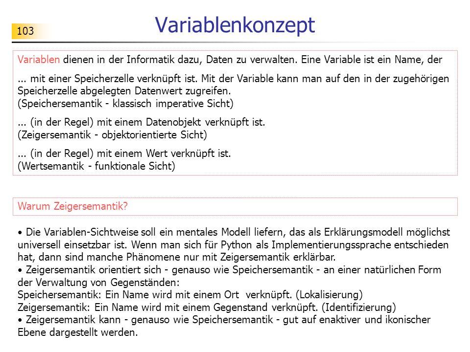 VariablenkonzeptVariablen dienen in der Informatik dazu, Daten zu verwalten. Eine Variable ist ein Name, der.