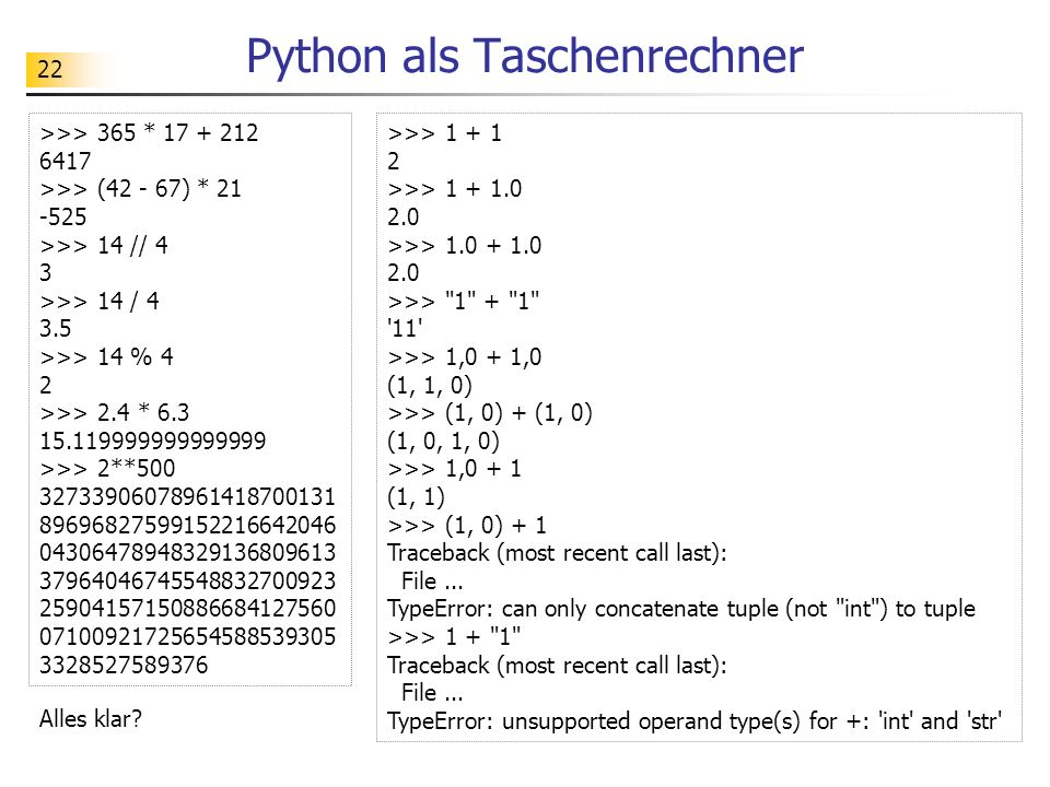 Python als Taschenrechner