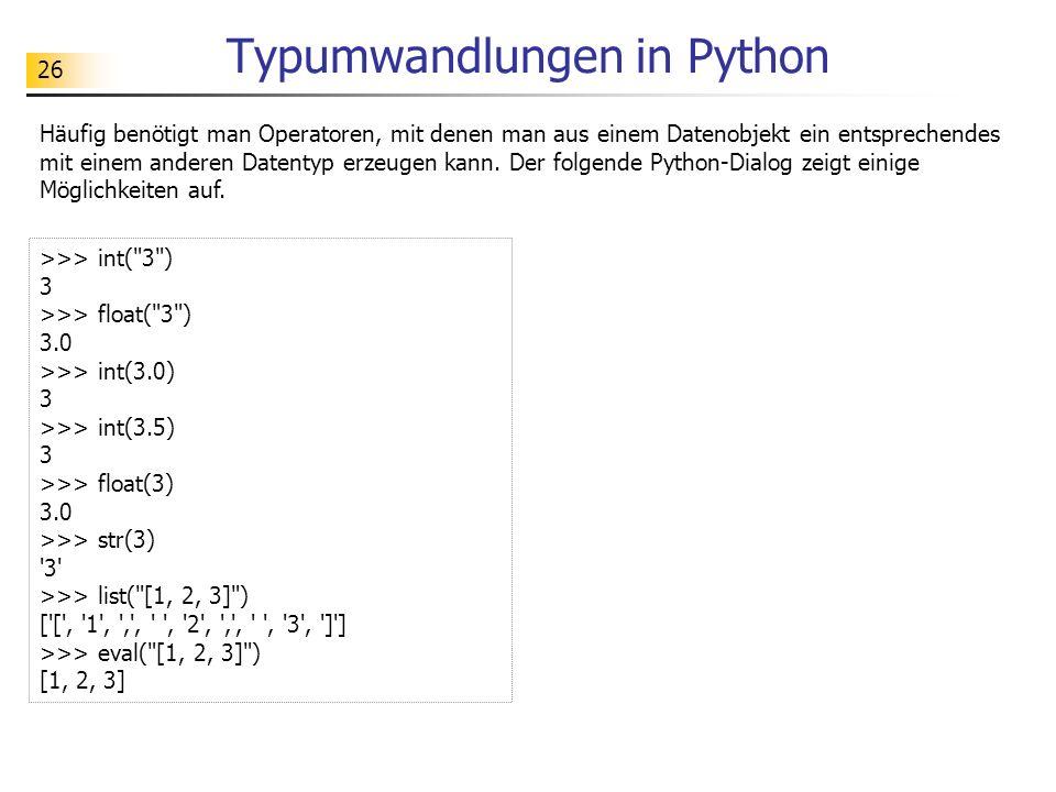 Typumwandlungen in Python