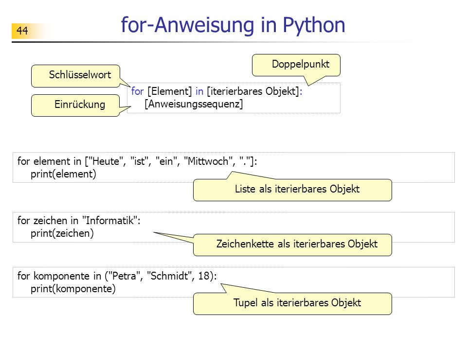 for-Anweisung in Python