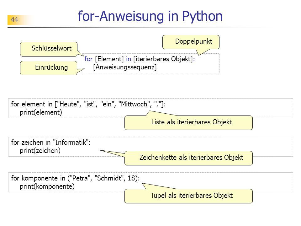 for-Anweisung in Python