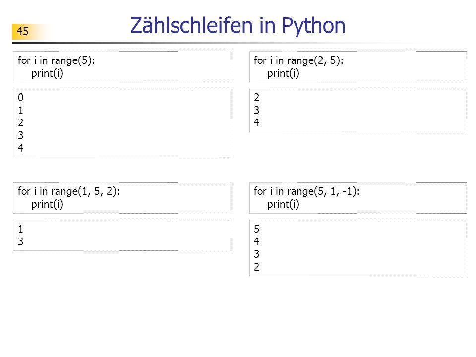 Zählschleifen in Python