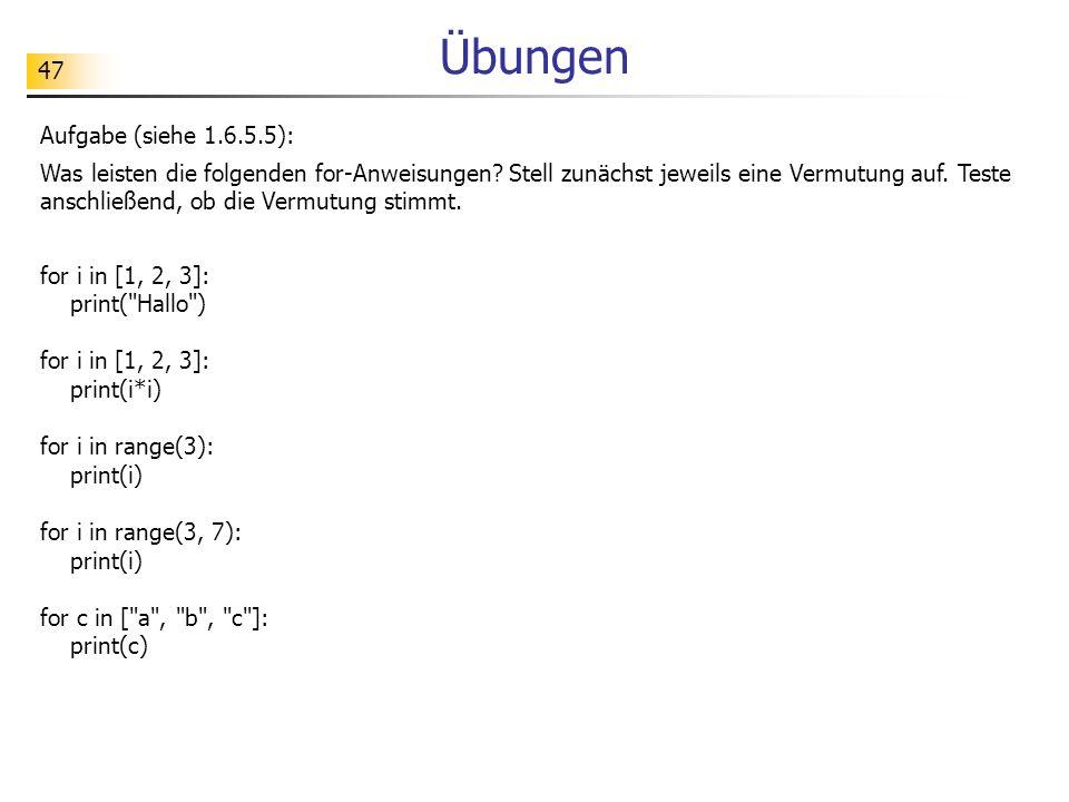 Übungen Aufgabe (siehe 1.6.5.5):