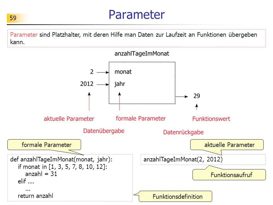 Parameter Parameter sind Platzhalter, mit deren Hilfe man Daten zur Laufzeit an Funktionen übergeben kann.