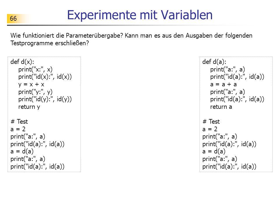 Experimente mit Variablen