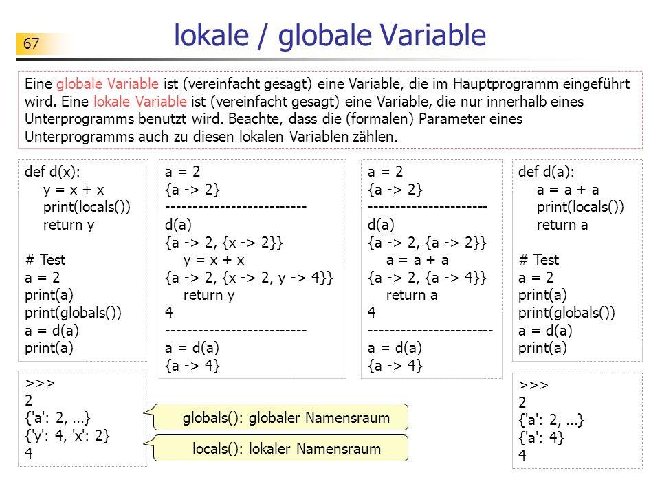 lokale / globale Variable