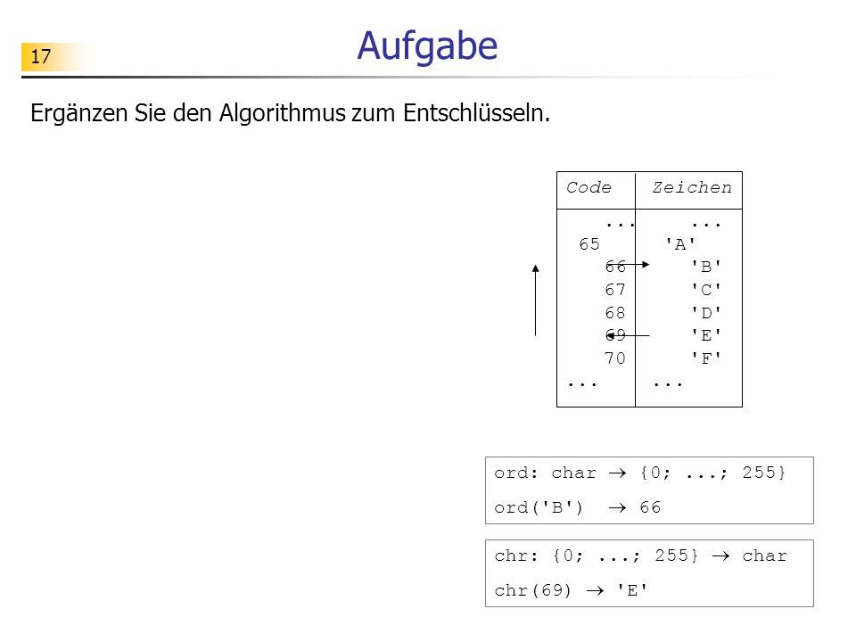 Aufgabe Ergänzen Sie den Algorithmus zum Entschlüsseln. Code Zeichen