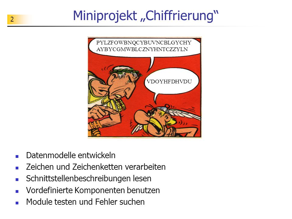 "Miniprojekt ""Chiffrierung"