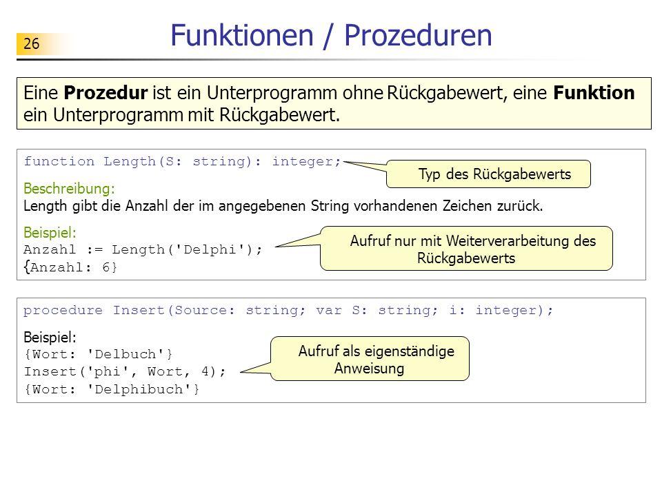 Funktionen / Prozeduren