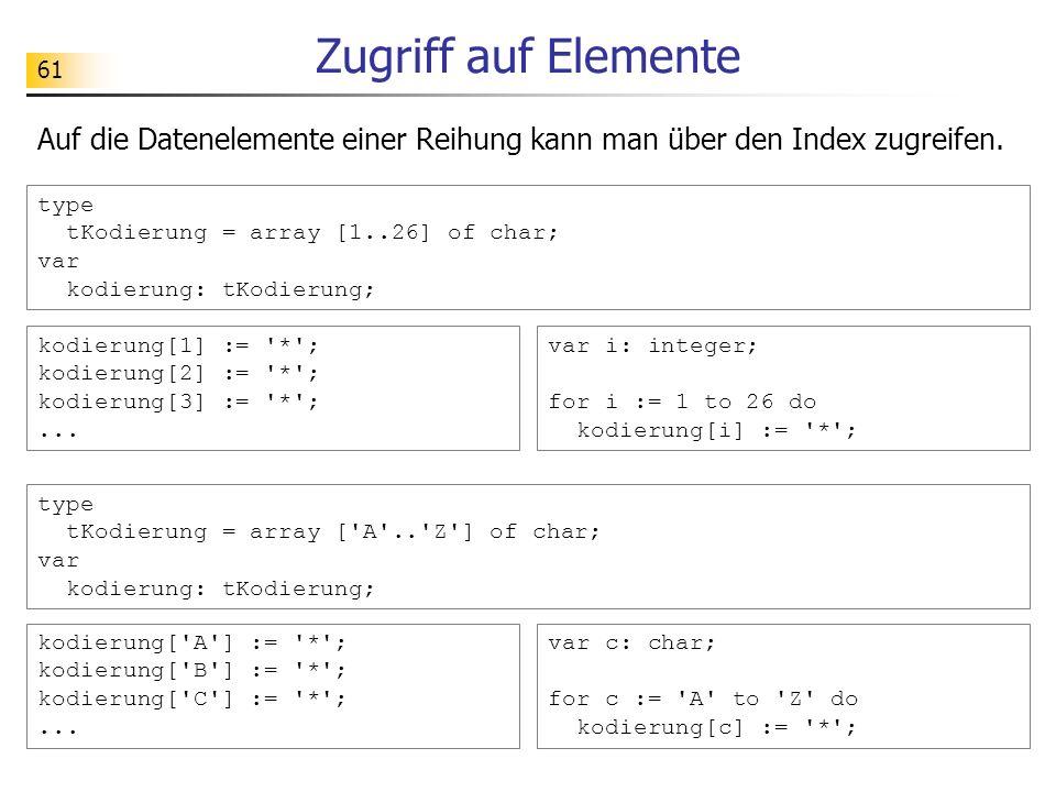 Zugriff auf Elemente Auf die Datenelemente einer Reihung kann man über den Index zugreifen.