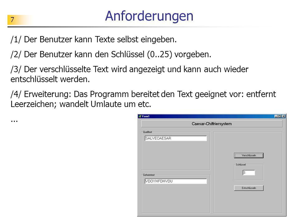 Anforderungen /1/ Der Benutzer kann Texte selbst eingeben.