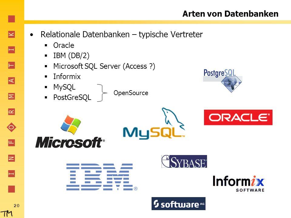 Relationale Datenbanken – typische Vertreter