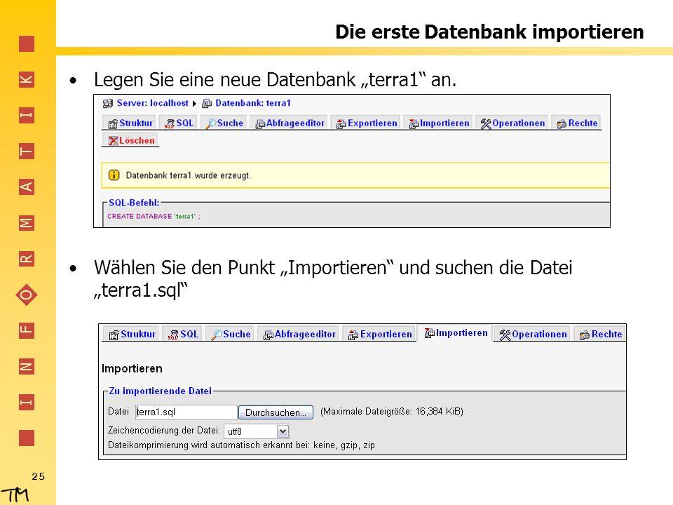 Die erste Datenbank importieren