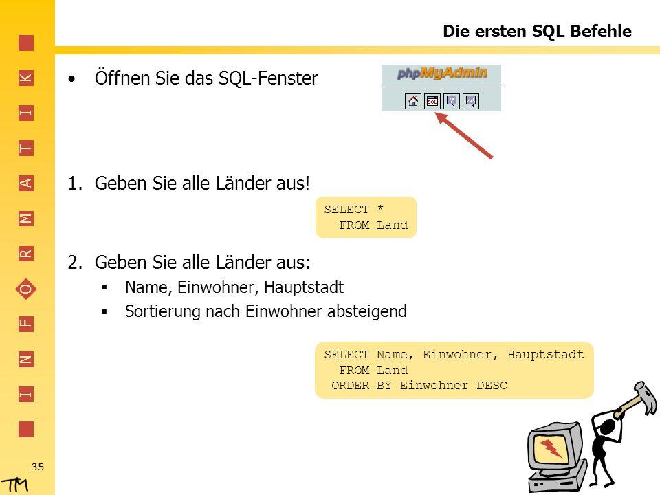 Öffnen Sie das SQL-Fenster