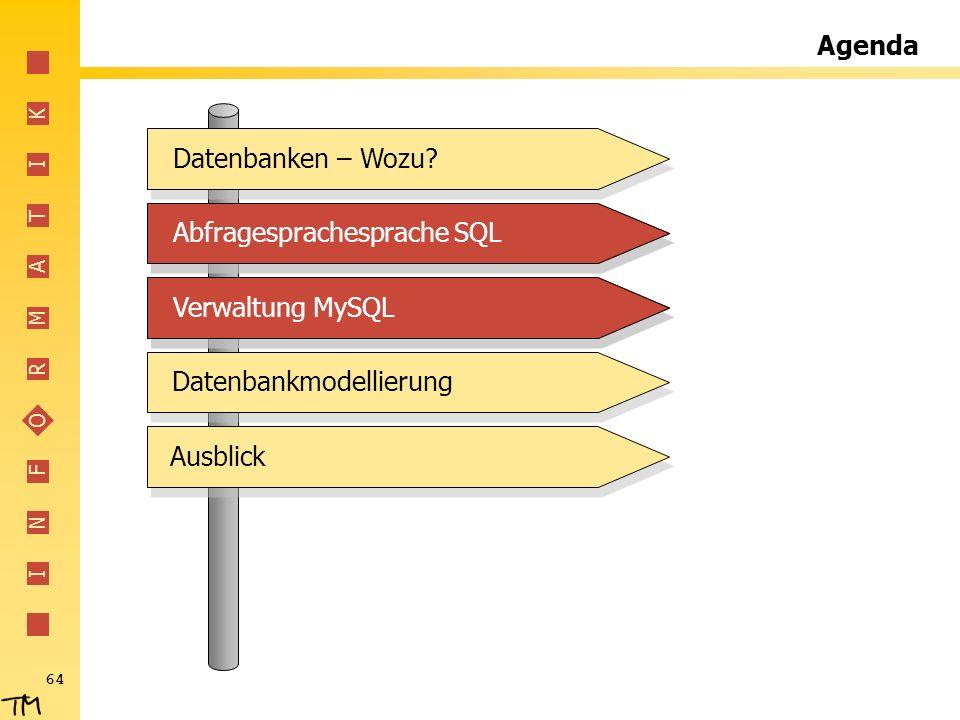Agenda Datenbanken – Wozu Abfragesprachesprache SQL. Abfragesprachesprache SQL. Verwaltung MySQL.