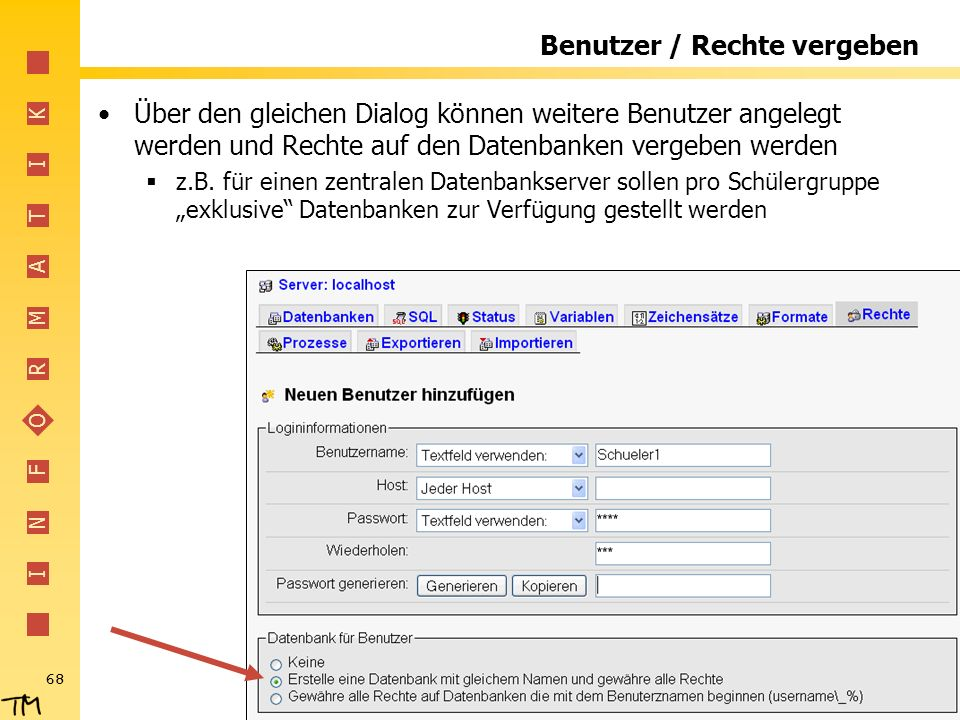 Benutzer / Rechte vergeben