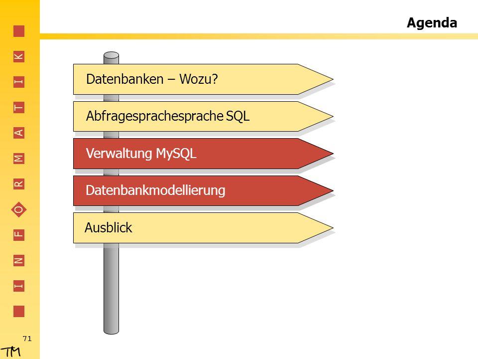 Agenda Datenbanken – Wozu Abfragesprachesprache SQL. Verwaltung MySQL. Verwaltung MySQL. Datenbankmodellierung.
