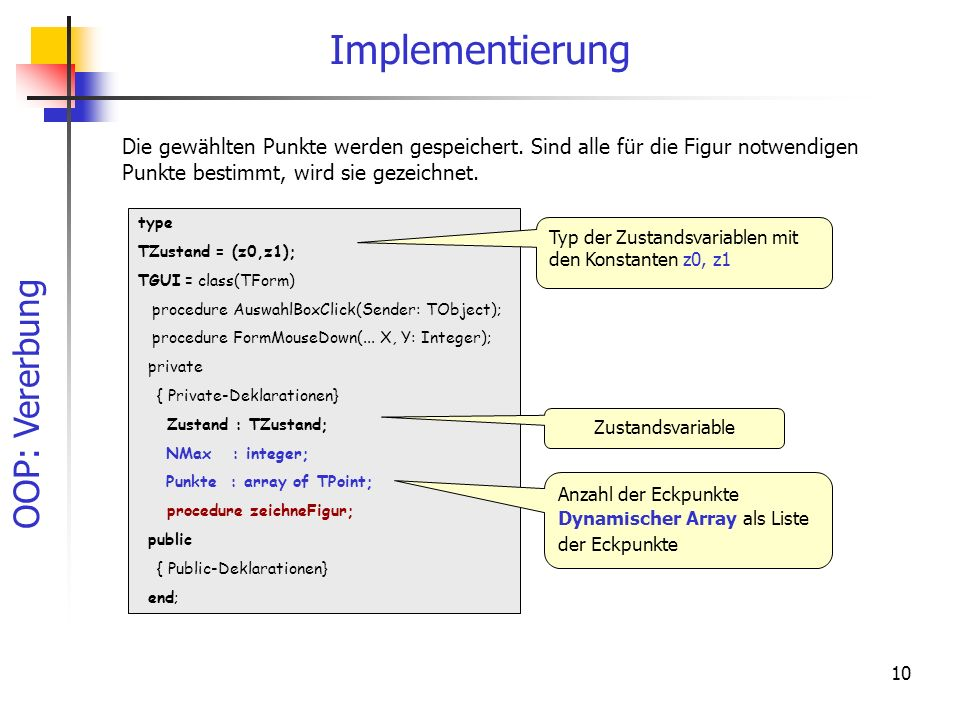 Implementierung Die gewählten Punkte werden gespeichert. Sind alle für die Figur notwendigen Punkte bestimmt, wird sie gezeichnet.