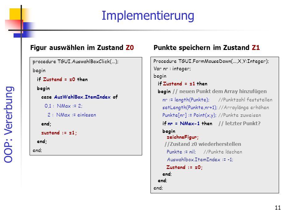 Implementierung Figur auswählen im Zustand Z0