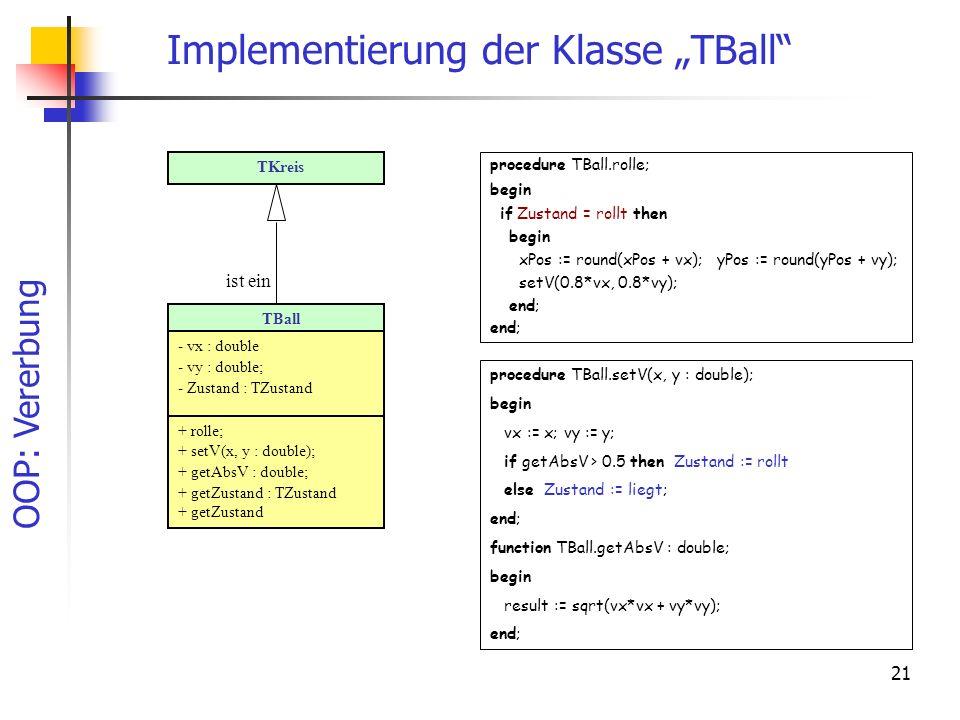 """Implementierung der Klasse """"TBall"""