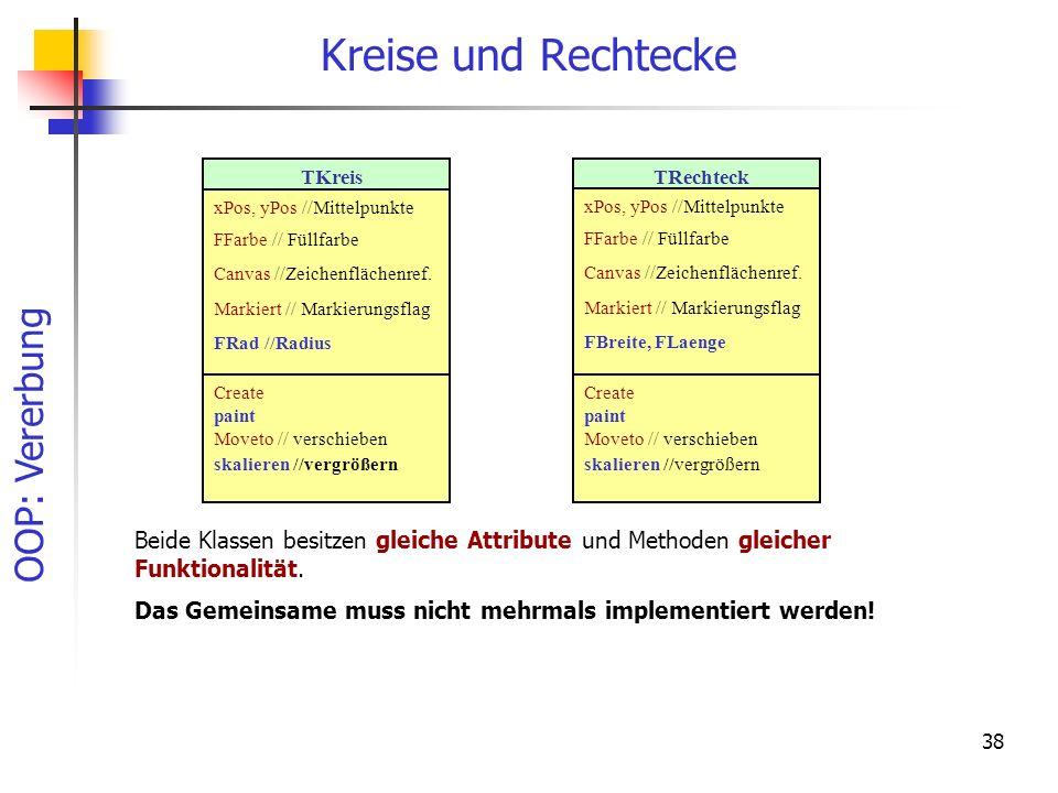 Kreise und Rechtecke TKreis. xPos, yPos //Mittelpunkte. FFarbe // Füllfarbe. Canvas //Zeichenflächenref.