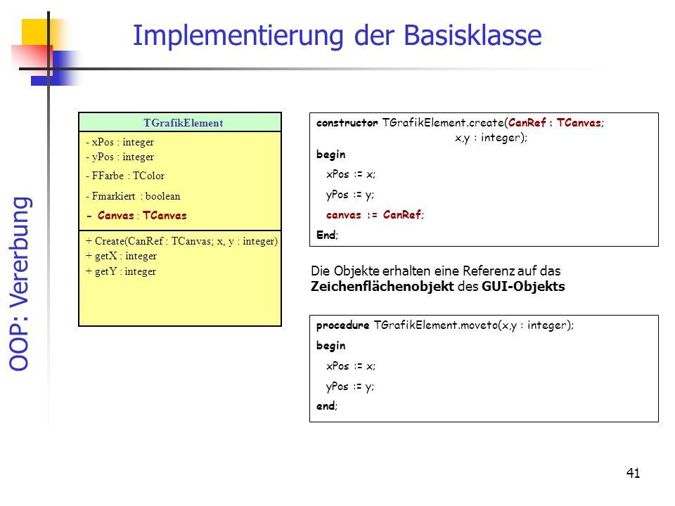 Implementierung der Basisklasse