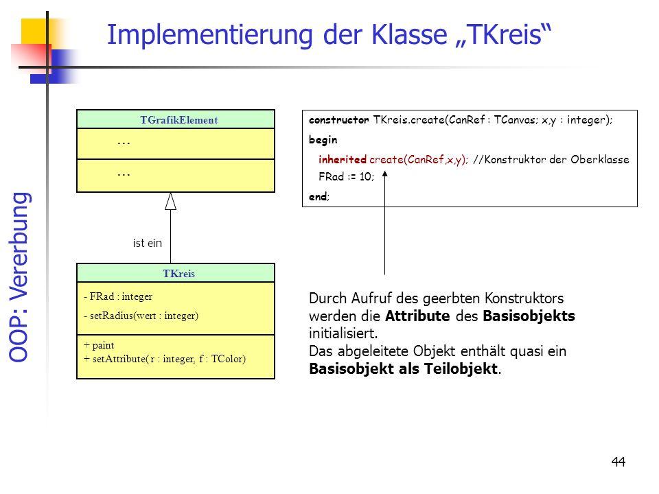 """Implementierung der Klasse """"TKreis"""