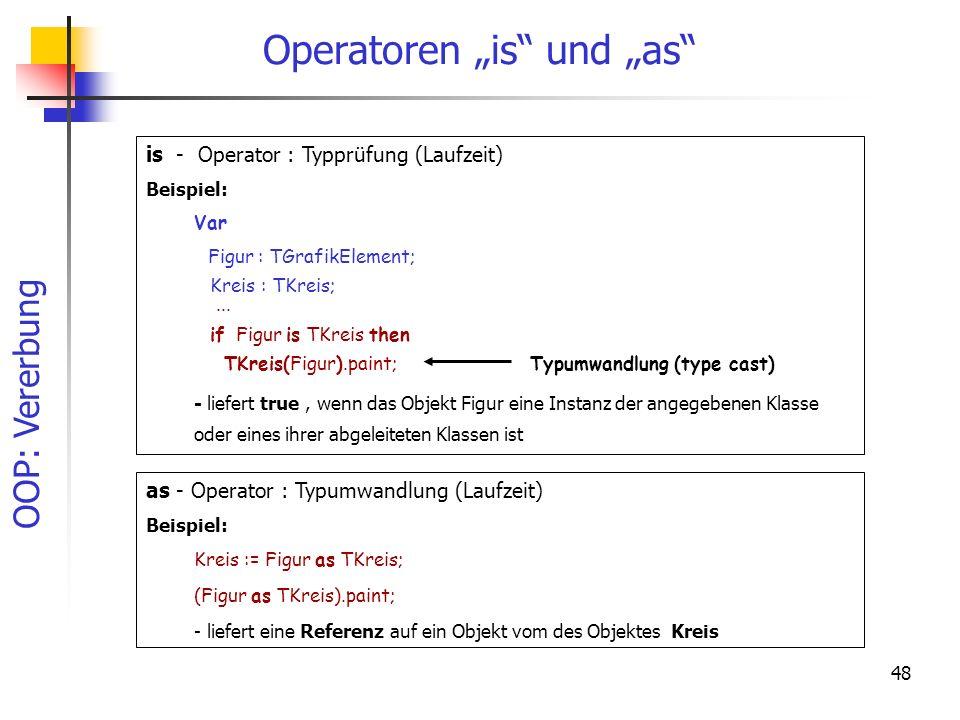 """Operatoren """"is und """"as"""