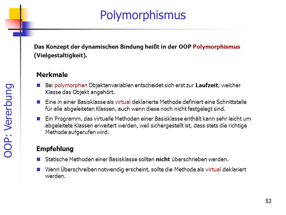 Polymorphismus Merkmale Empfehlung