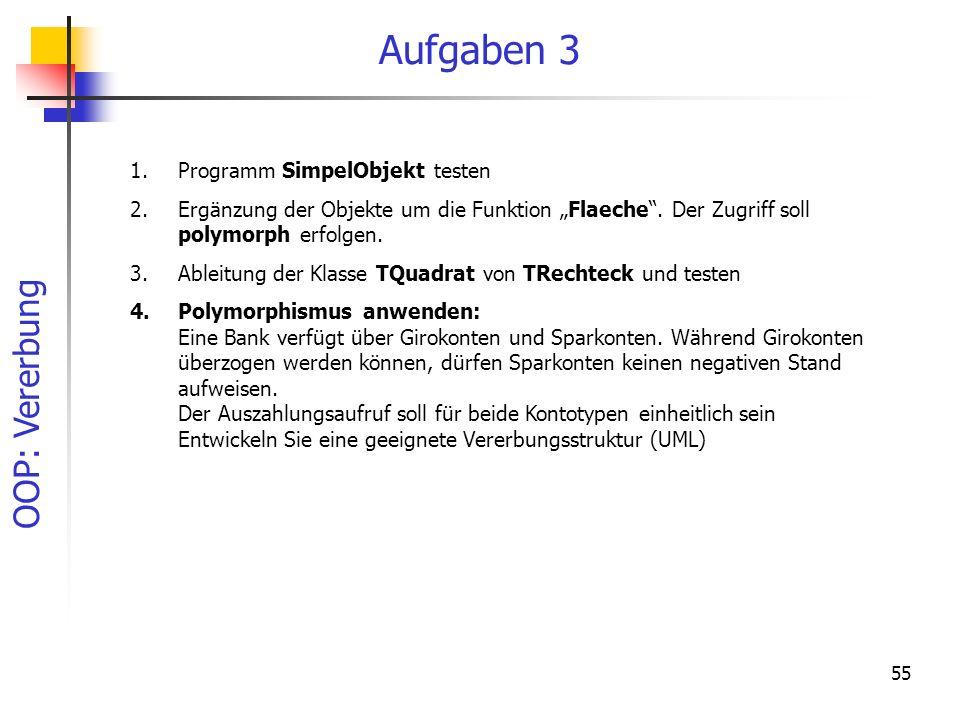 Aufgaben 3 Programm SimpelObjekt testen