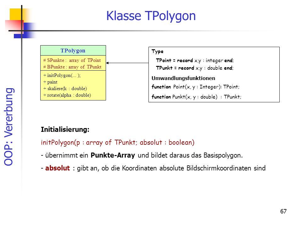 Klasse TPolygon Initialisierung: