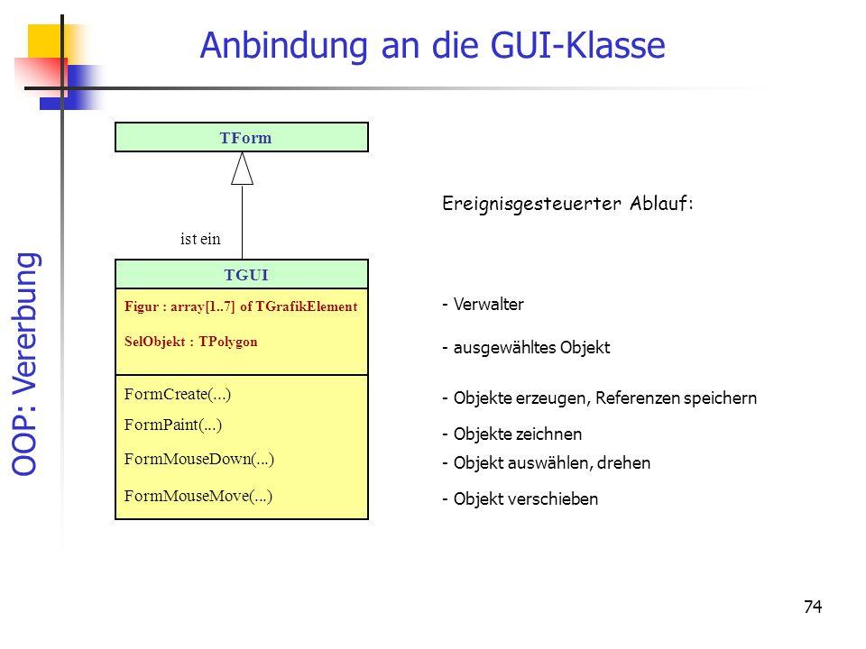 Anbindung an die GUI-Klasse