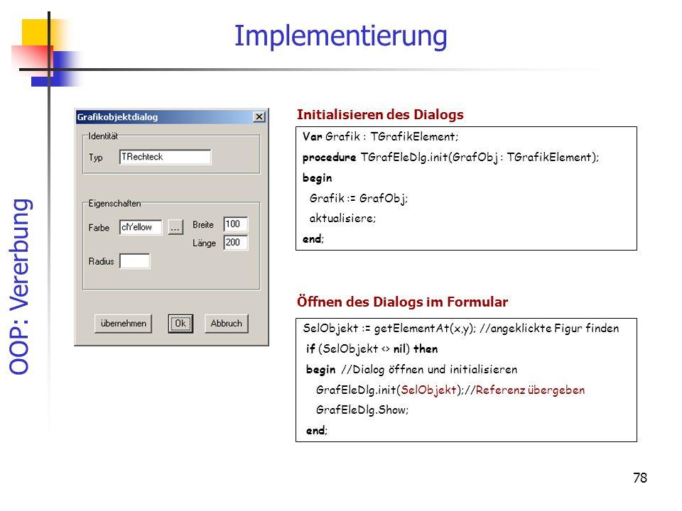 Implementierung Initialisieren des Dialogs