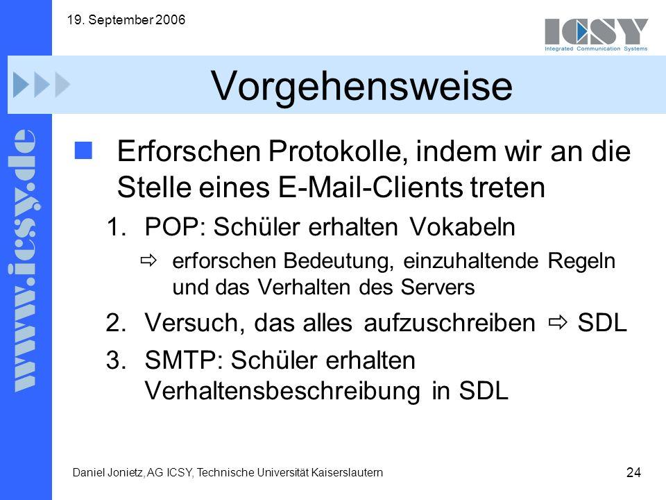 19. September 2006 Vorgehensweise. Erforschen Protokolle, indem wir an die Stelle eines E-Mail-Clients treten.