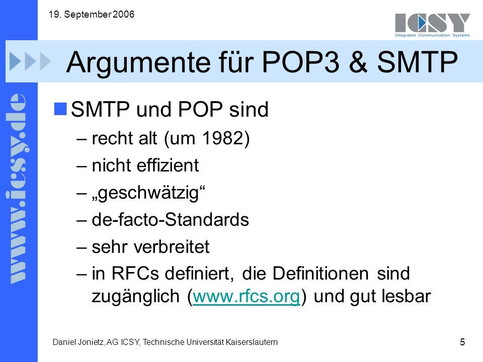 Argumente für POP3 & SMTP