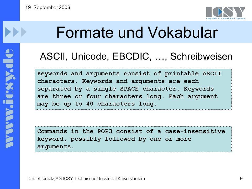 Formate und Vokabular ASCII, Unicode, EBCDIC, …, Schreibweisen