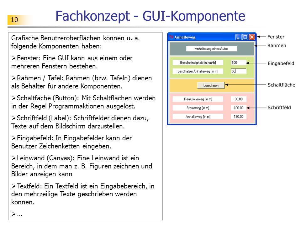 Fachkonzept - GUI-Komponente