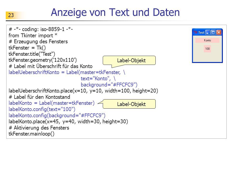 Anzeige von Text und Daten