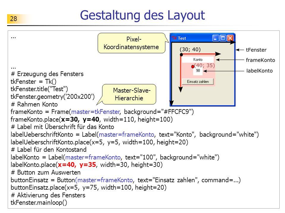 Gestaltung des Layout ... Pixel-Koordinatensysteme