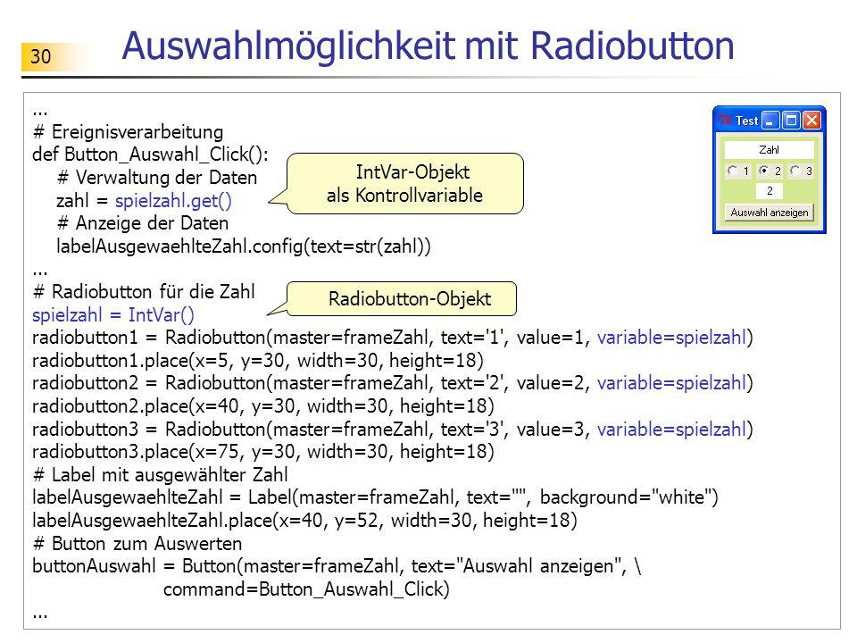 Auswahlmöglichkeit mit Radiobutton